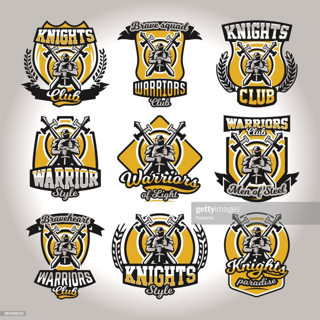 Set of colorful symbols, emblems of a knight on a background of two cross swords, used different fonts and shields. The theme knights, barbarians, warriors, swordsmen, kingdoms. Vector illustration