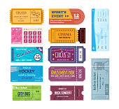 Set of colorful tickets and coupons on various events