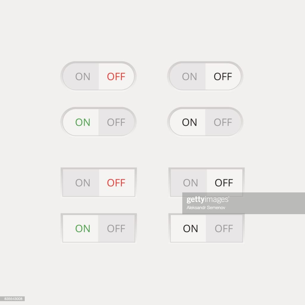 Set of colorful toggle switch icons. Switch buttons. On and Off position. Vector user interface set including switches.
