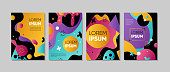Set of colorful trendy card. Hand drawn creative flayers, abstract design poster, cover, design. Vector illustration. Lorem ipsum