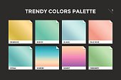 Set of colorful trendy gradient template