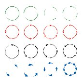 Set of colorful vector arrows in circle formations