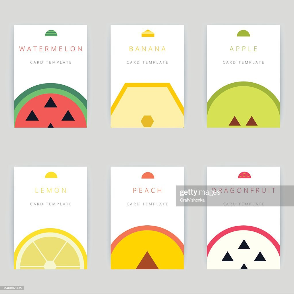 Set of colorful vector greeting card design with fruits