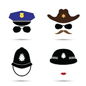 Set of colorful vector icons isolated on white. Policeman icon