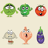 Set of colorful vegetable cartoon characters.