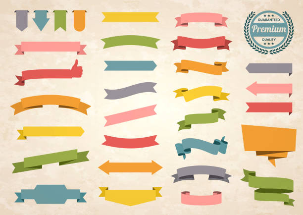set of colorful vintage ribbons, banners, badges, labels - design elements on retro background - vector stock illustrations