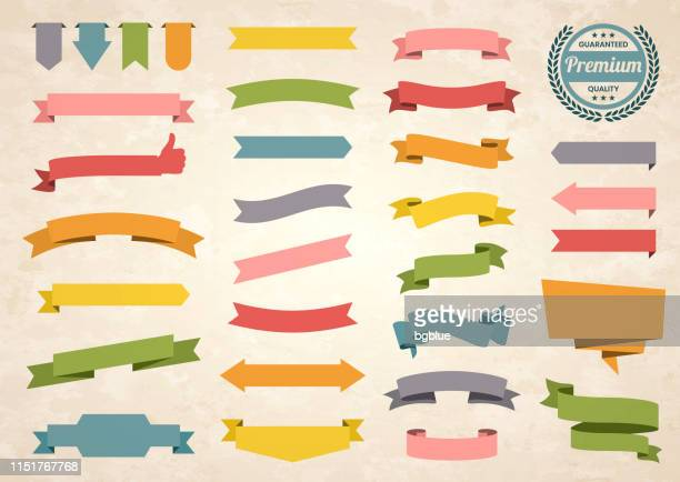 set of colorful vintage ribbons, banners, badges, labels - design elements on retro background - condition stock illustrations