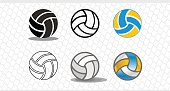 Set of colorful volleyballs. The logo is a ball