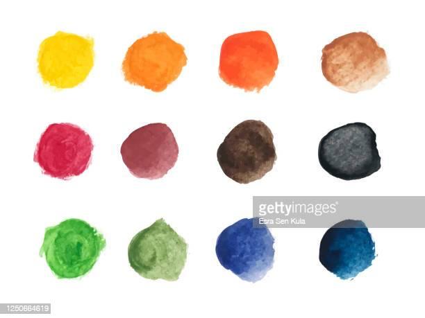 カラフルな水彩画の手描き丸型のセット - しみ点のイラスト素材/クリップアート素材/マンガ素材/アイコン素材