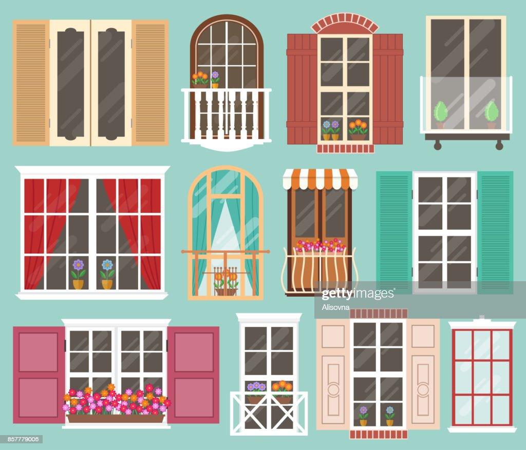 Set of colorful windows
