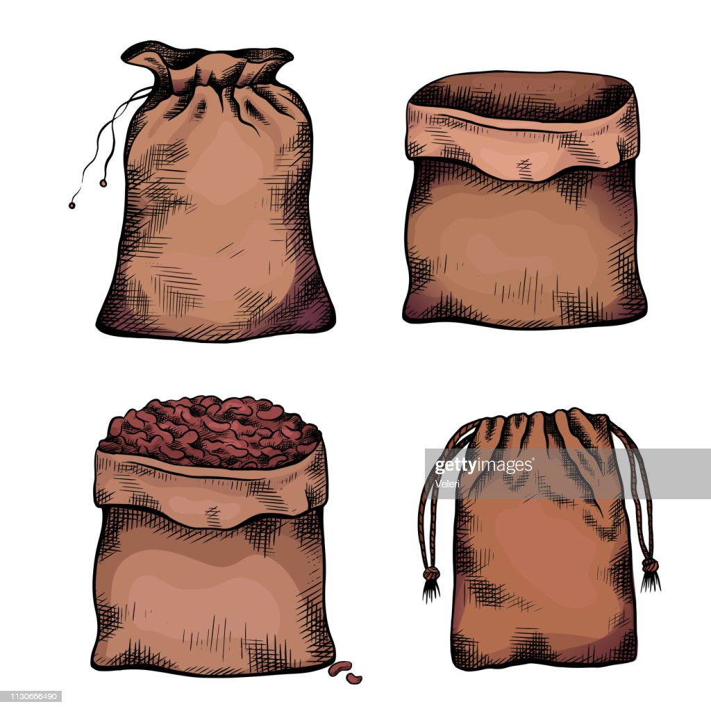 Set of coloring illustrations of hand drawn canvas bags. Objects separate from the background. Zero waste objects. Vector line art