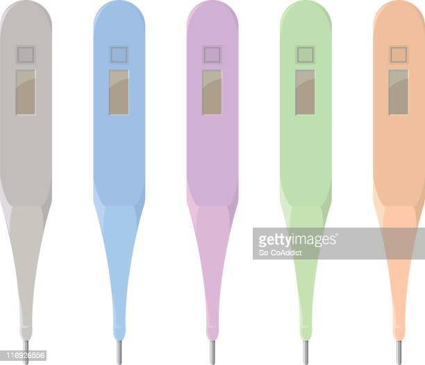 ilustraciones, imágenes clip art, dibujos animados e iconos de stock de termómetro digital - termometro mercurio