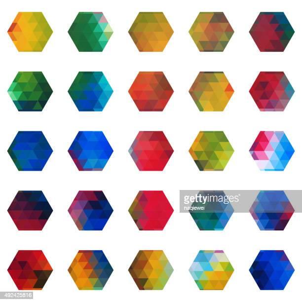 set of colourful hexagon mosaic icon