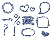 Set of comic blue design elements. Crayon chalk hand drawn frame, heart, speech bubble, arrow, question mark, percent sign, exclamation mark.