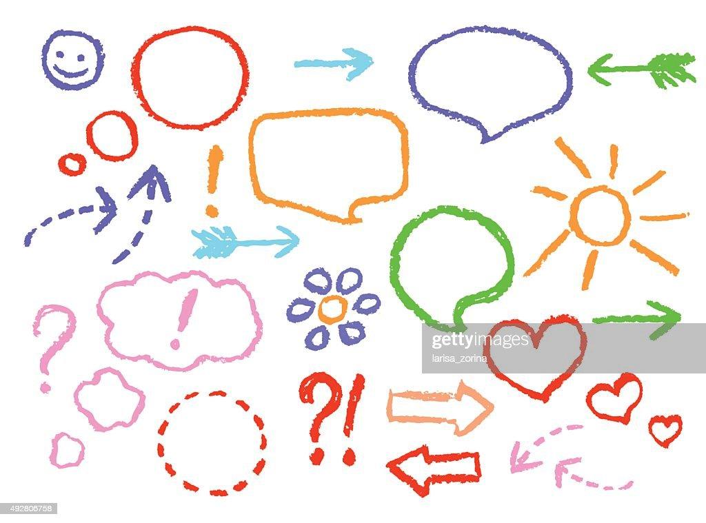 Set of comic speech bubbles and arrows