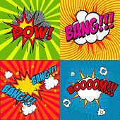 Set of comic style phrases