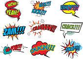 Set of comic style phrases.