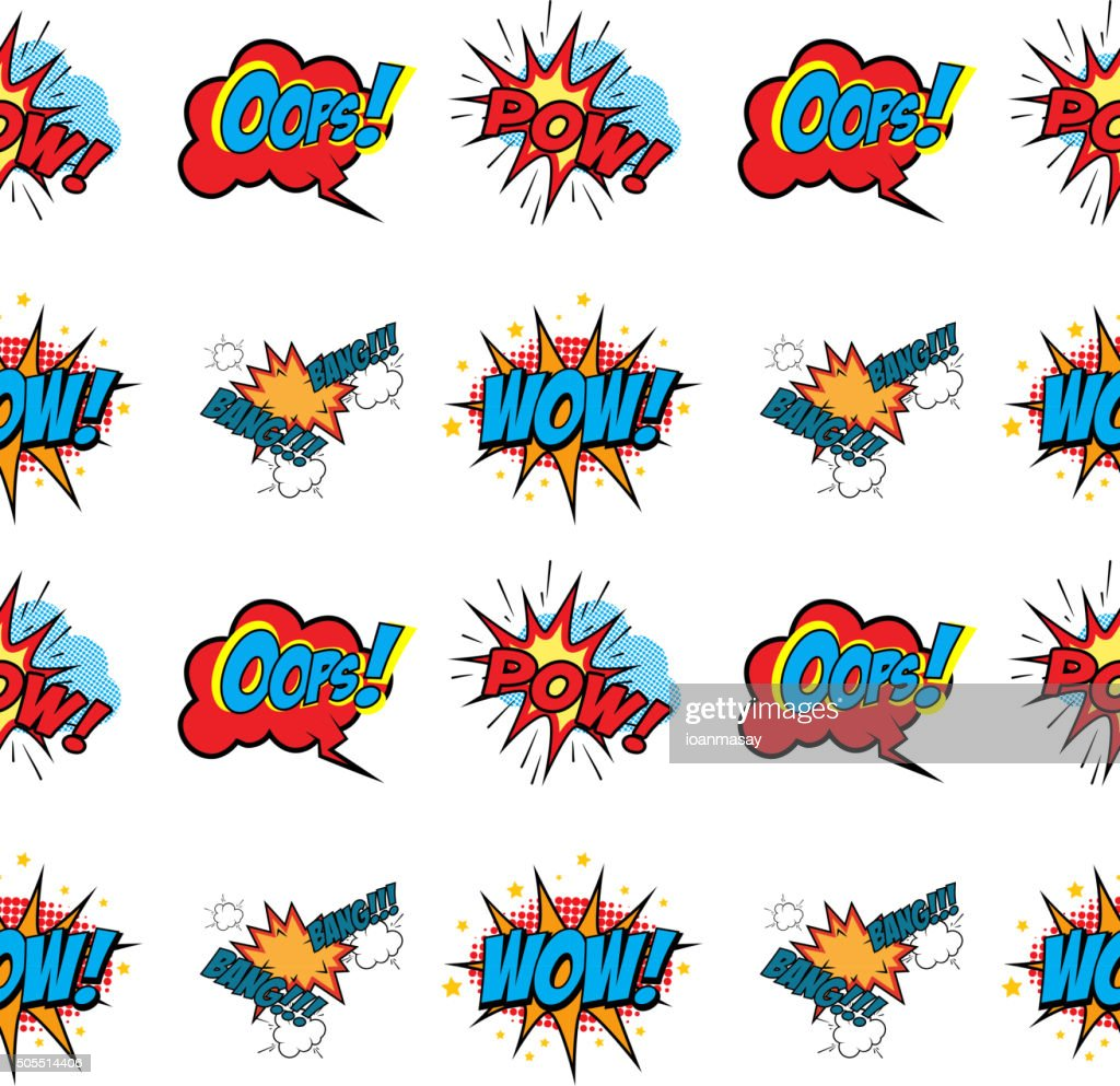 Set of Comic Text, Pop Art style seamless pattern