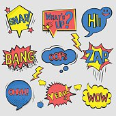 Set of Comic Text, Pop Art style.