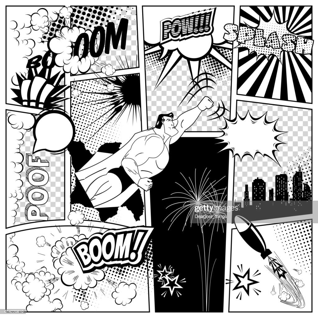 Set of comics speech and explosion bubbles on a book