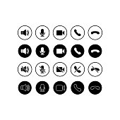 Set of communication icons. Phone, sound, microphone, camera, call symbols on isolated white background for applications, web, app. EPS 10 vector