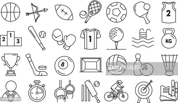 set of competitive sports icon in thin line style - sports jersey stock illustrations