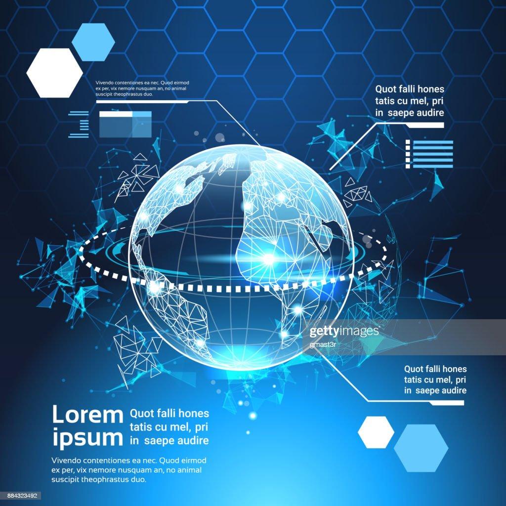 Satz Von Computer Futuristische Infografik Elemente World Globe Tech ...
