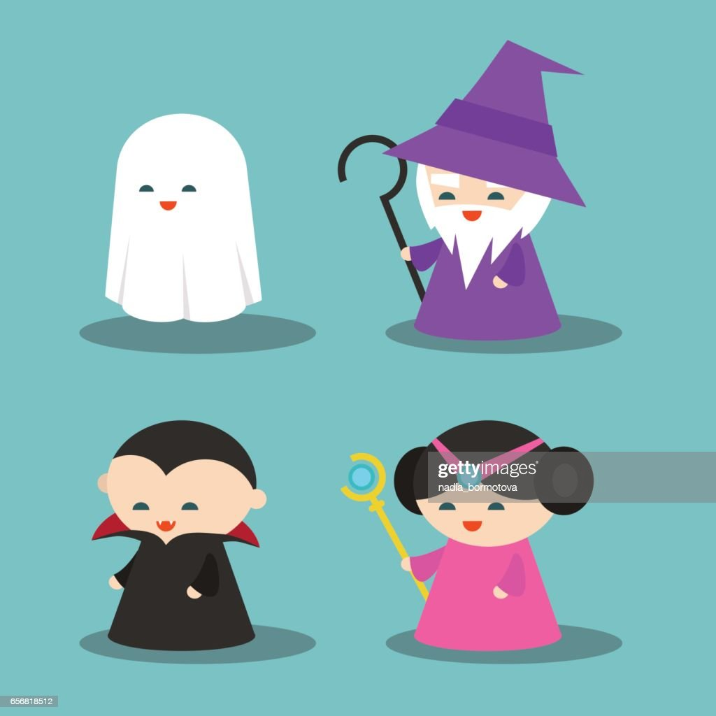 Set of computer game characters: Ghost, Wizard, Dracula, Princess