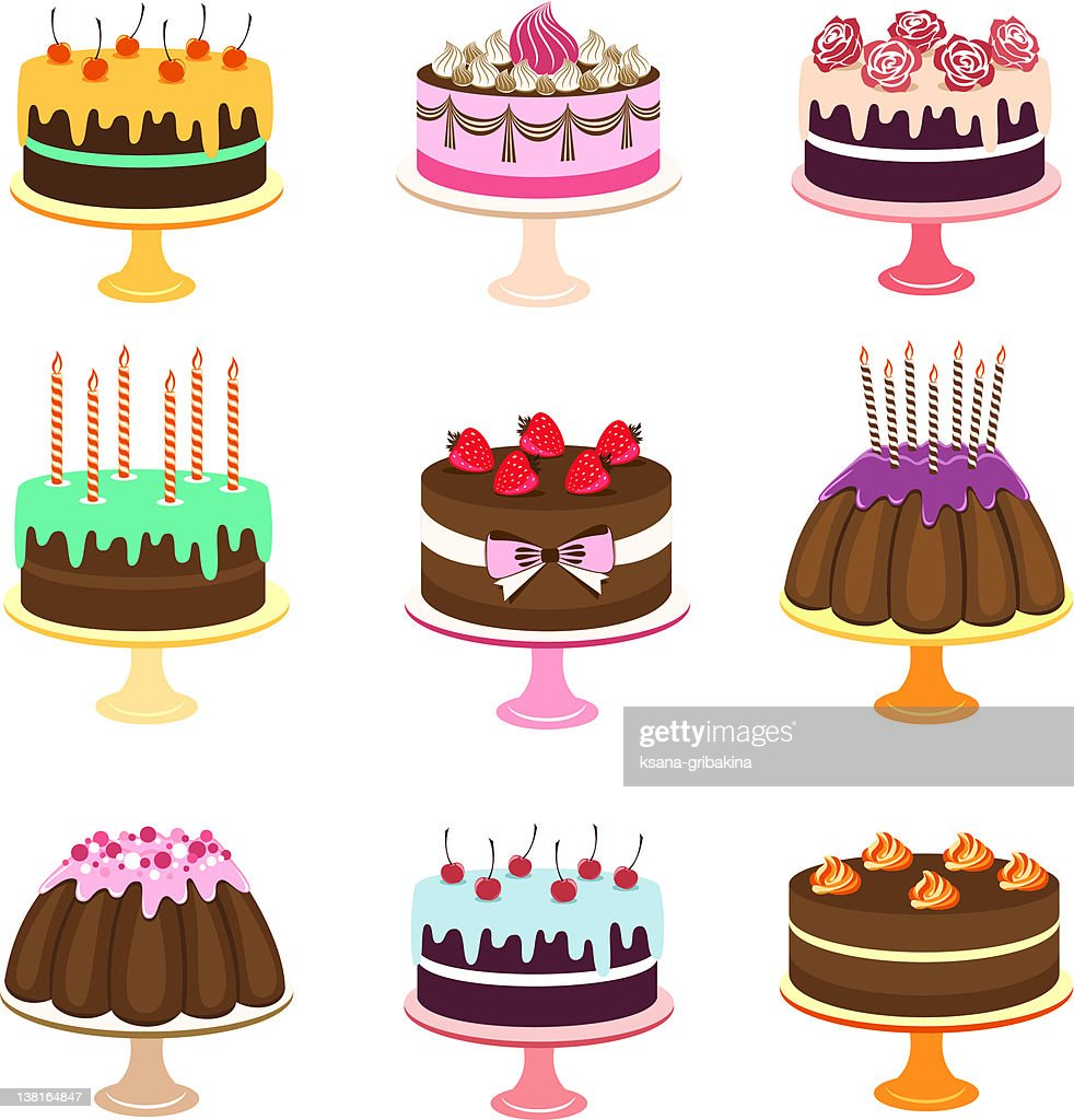 Set of computer images of various styles of cake