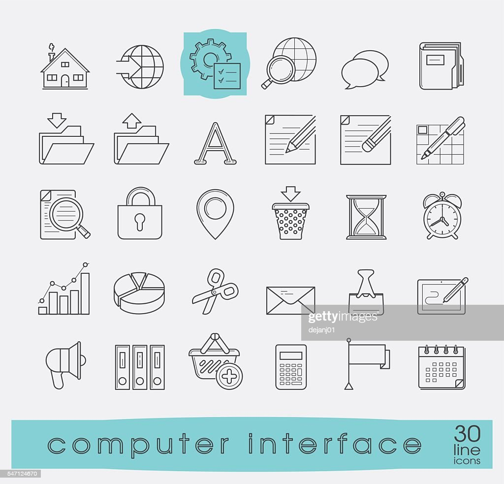 Set of computer interface icons.
