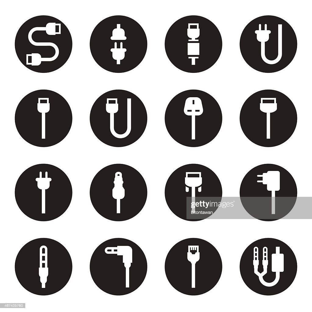 Set of computer wire and electrical plug cable icons