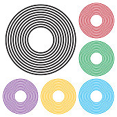 Set of concentric circles geometric element. Black and colorful version. Vector illustration