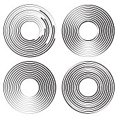 Set of concentric circles geometric element. Vector illustration