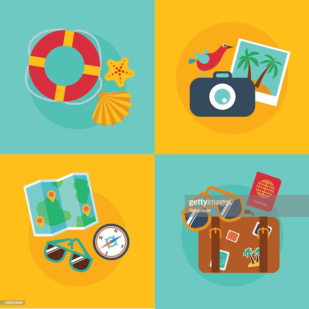 Set of concepts and banners  of travel, summer, flat style