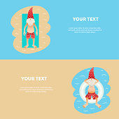 Set of conceptual summer horizontal banner сute christmas tanned character