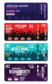 Set of concert ticket templates. Concert, party or festival ticket design template with people crowd on background. Creative ticket mockup for entrance to event