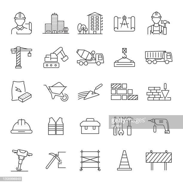 ilustrações de stock, clip art, desenhos animados e ícones de set of construction and architecture related line icons. editable stroke. simple outline icons. - construção