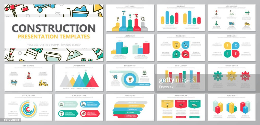 Set of construction and repair elements for multipurpose presentation template slides with graphs and charts. Leaflet, corporate report, marketing, advertising, annual report, book cover design.