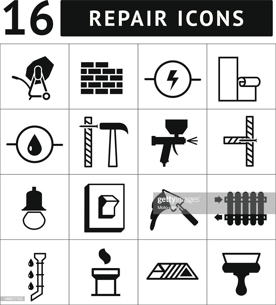 Set of construction, building, and house repair icons