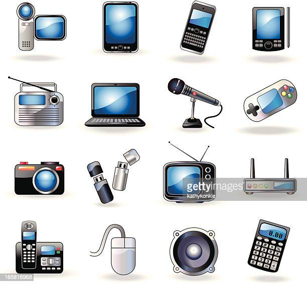 A set of consumer electronic related icons