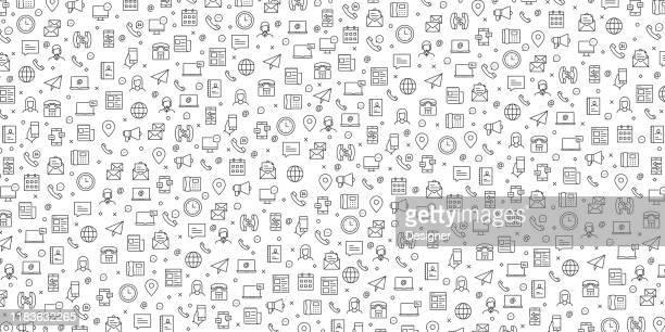 set von kontakt uns und support icons vektor-muster-design - instant messaging stock-grafiken, -clipart, -cartoons und -symbole