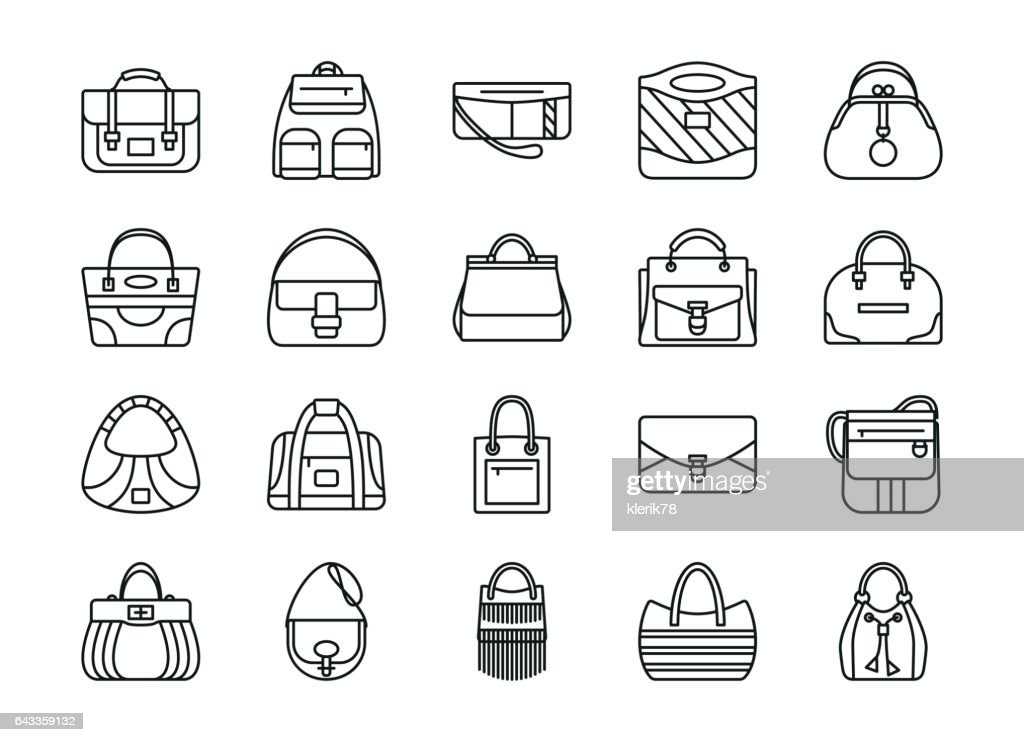 Set of contour line icon. Different women bags