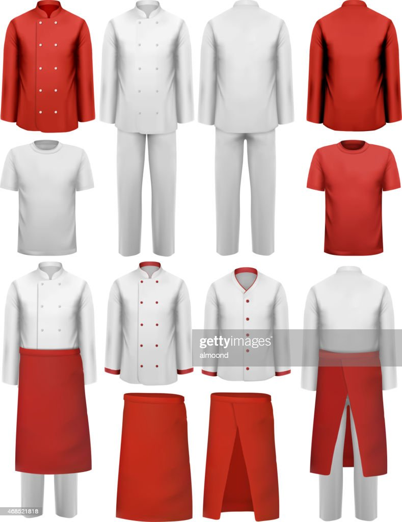 Set of cook clothing - aprons, uniforms. Vector.