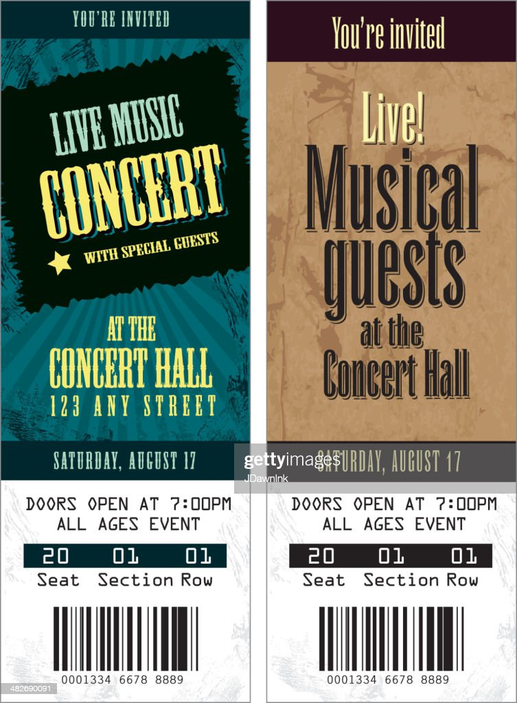 set of cool concert tickets template vector art getty images