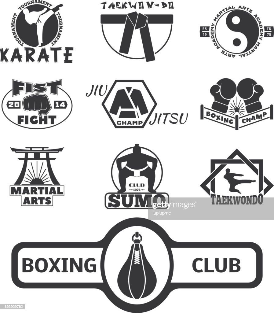 Set of cool fighting club emblems labels fight badges punch sport fist karate vector illustration