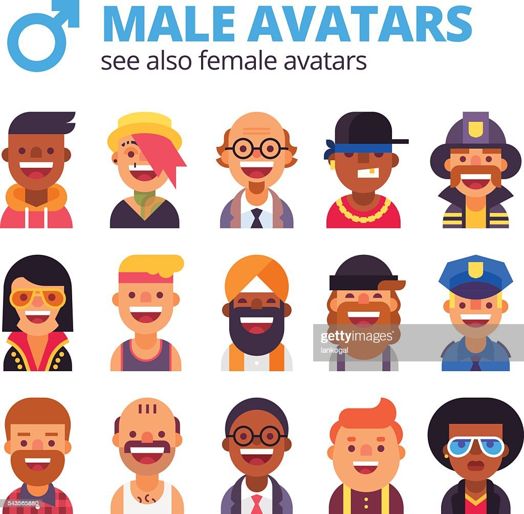 Set of cool male avatars. Modern flat design.