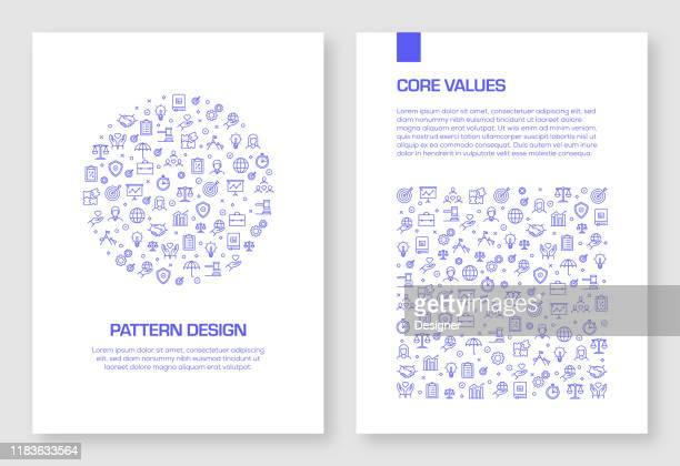 set of core values icons vector pattern design for brochure,annual report,book cover. - imagem a cores stock illustrations