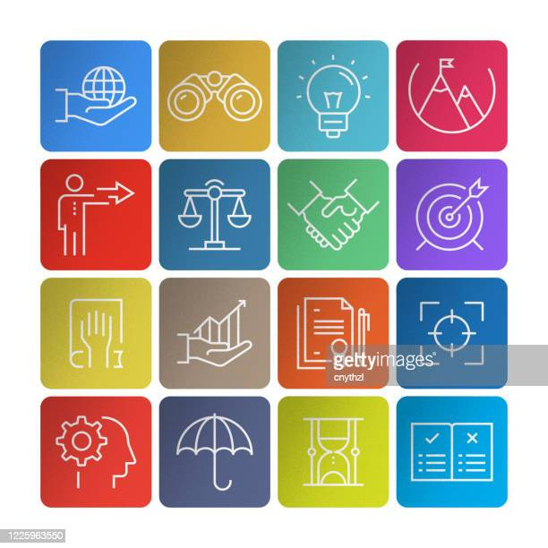 set of core values related line icons. simple outline icons. - imagem a cores stock illustrations