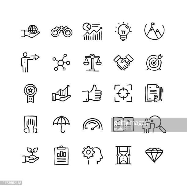 set of core values related objects and elements. hand drawn vector doodle illustration collection. hand drawn icon set. - imagem a cores stock illustrations