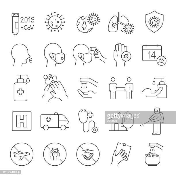 set of coronavirus 2019-ncov related line icons. editable stroke. simple outline icons. - safety stock illustrations